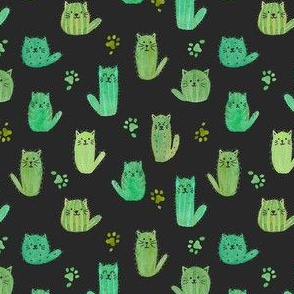 Micro cat-cus! Cactus cats and paws on BLACK