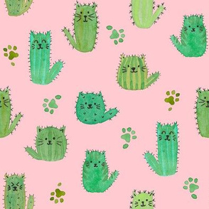 Cat-cus! Cactus cats and paws on PINK