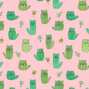 Micro cat-cus! Cactus cats and paws on PINK