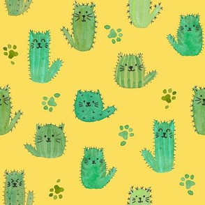Cat-cus! Cactus cats and paws on YELLOW