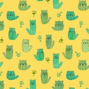 Micro cat-cus! Cactus cats and paws on YELLOW