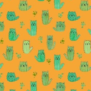 Micro cat-cus! Cactus cats and paws on ORANGE