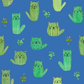 Cat-cus! Cactus cats and paws on BLUE