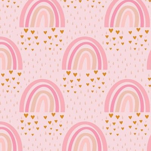 Rainbows + Hearts - Pink