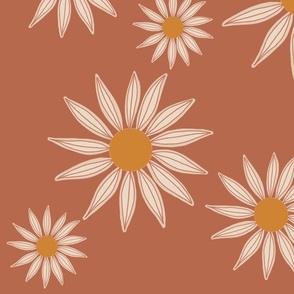 retro scattered floral on terra cotta