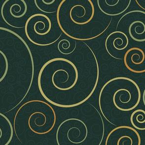 spirals - spiral dance dark green