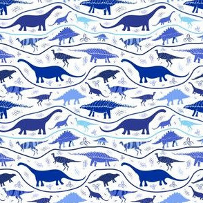 Dinosaur Strata: shades of Blues on  white , very small scale, kids , quilter very small scale