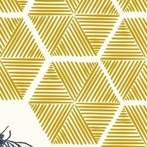 Stitched Bees & Honeycomb - Gold - Medium