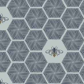 Stitched Bees & Honeycomb - Dark Blue - Medium