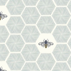 Stitched Bees & Honeycomb - Light Blue - Large