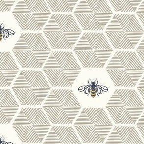 Stitched Bees & Honeycomb - Neutral - Medium