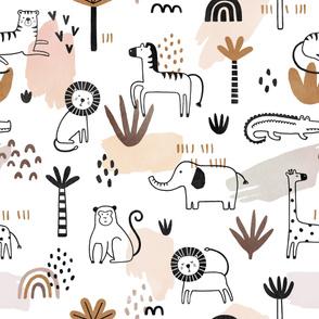 Jungle Safari Watercolor  Monochrome Pattern