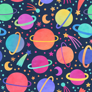 Bright, Colorful Watercolor Planets