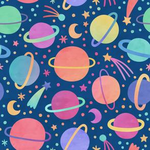 Watercolor Planets Rainbow Pastel