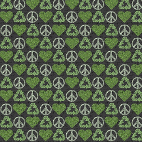 Peace. Love. Recycle. (1/2 scale) | Green - dark