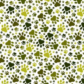 Green Paw Print Repeat