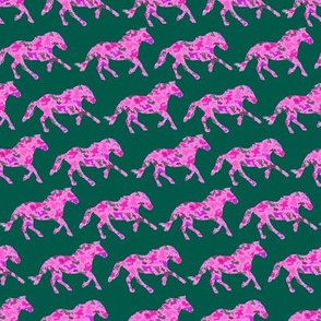 Mustangs on Pink and Green