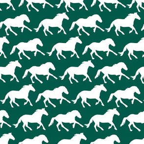 White Mustangs on green