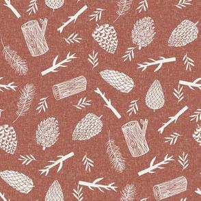 pinecone fabric - fall autumn design - sfx1441 clay