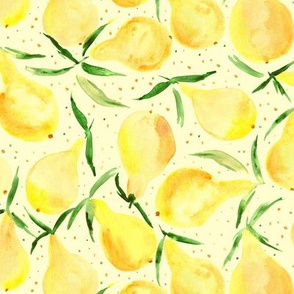 Bosc pears on cream - watercolor sweet pear pattern for summer
