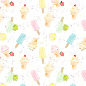 Watercolor Ice Cream Cones and Popsicles