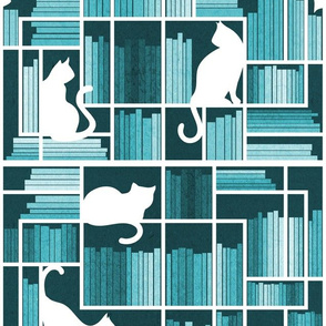 Normal scale // Rainbow bookshelf // monochromatic teal white shelf and library cats