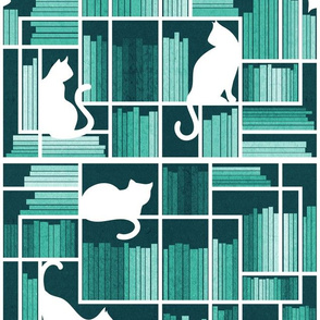 Normal scale // Rainbow bookshelf // monochromatic mint white shelf and library cats