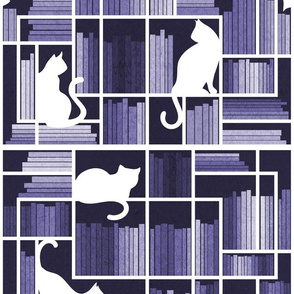 Normal scale // Rainbow bookshelf // monochromatic violet white shelf and library cats