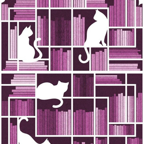 Normal scale // Rainbow bookshelf // monochromatic pink white shelf and library cats