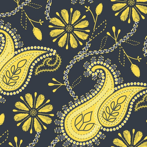 Paisley Chikankari- Embroidery Florals- Jumbo Scale