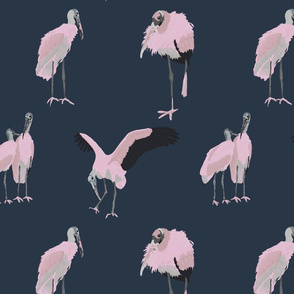 Wood Stork in Pink and Navy