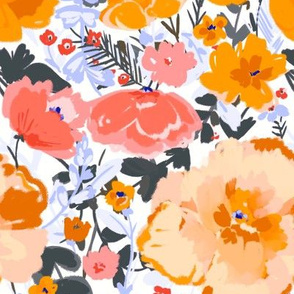 Sunny Floral Medium -Coral & Saffron -