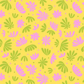 Abstract Plants on Yellow 3 color