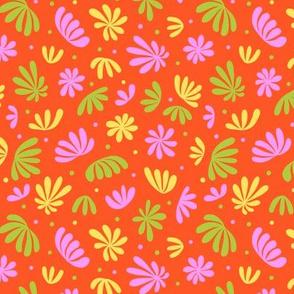 Abstract Plants on Orange