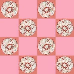 Doodle Flower Salmon Pink Checked