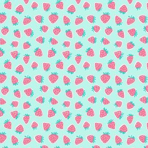 "(1/2"" scale) strawberries - dark pink on light aqua C20BS"