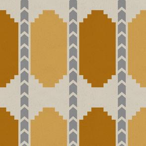 Mandana Tribal Art- Gold Goldenrod Gray Platinum- Regular Scale