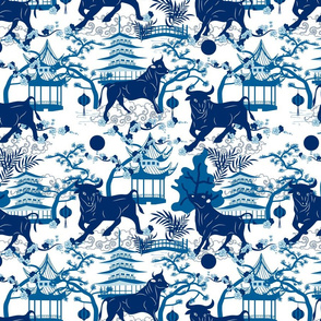 Year of the Metal Ox Toile Chinoiserie- Lunar New Year- Japanese Pagoda- Blue on White- Regular Scale