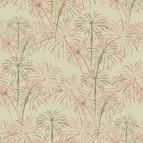 Coral Pink and Cafe au Lait Fireworks on Cream