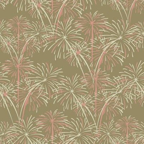 Coral Pink and Tan Fireworks on Cafe au Lait