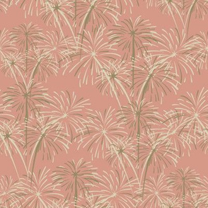 Cream and Cafe au Lait Fireworks on Coral Pink