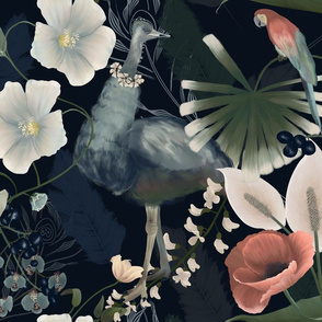 Ostrich, parrot and plants