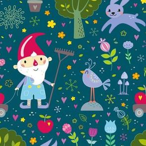 little garden gnome - green