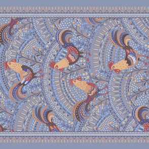 winter roosters tea towel