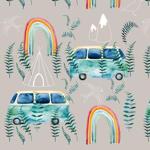 watercolor boheme rainbow bus in the nature