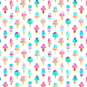 Mint and cherry ice cream delight - tiny scale - watercolor ice creams cones popsicles for summer p313