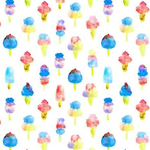 Red and blue ice cream delight - watercolor ice creams cones popsicles for summer 313