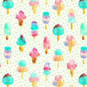 Mint and cherry ice cream delight with dots - watercolor ice creams cones popsicles for summer