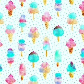 Mint and cherry ice cream delight - watercolor ice creams cones popsicles for summer p313