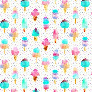 Mint and cherry ice cream delight - watercolor ice creams cones popsicles for summer 313
